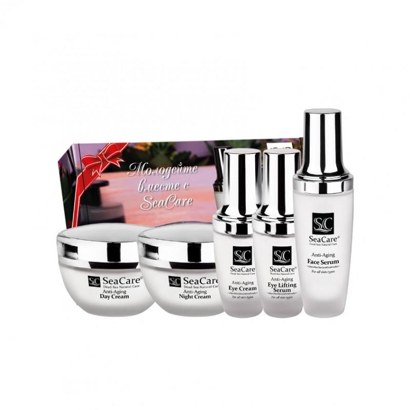 SEACARE Подарочный антивозрастной набор №12, Дневной и Ночной кремы, Сыворотка для лица, Крем и Сыворотка для глаз