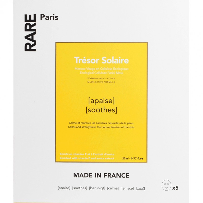 RARE PARIS Набор из 5 успокаивающих и укрепляющих тканевых масок Trésor Solaire
