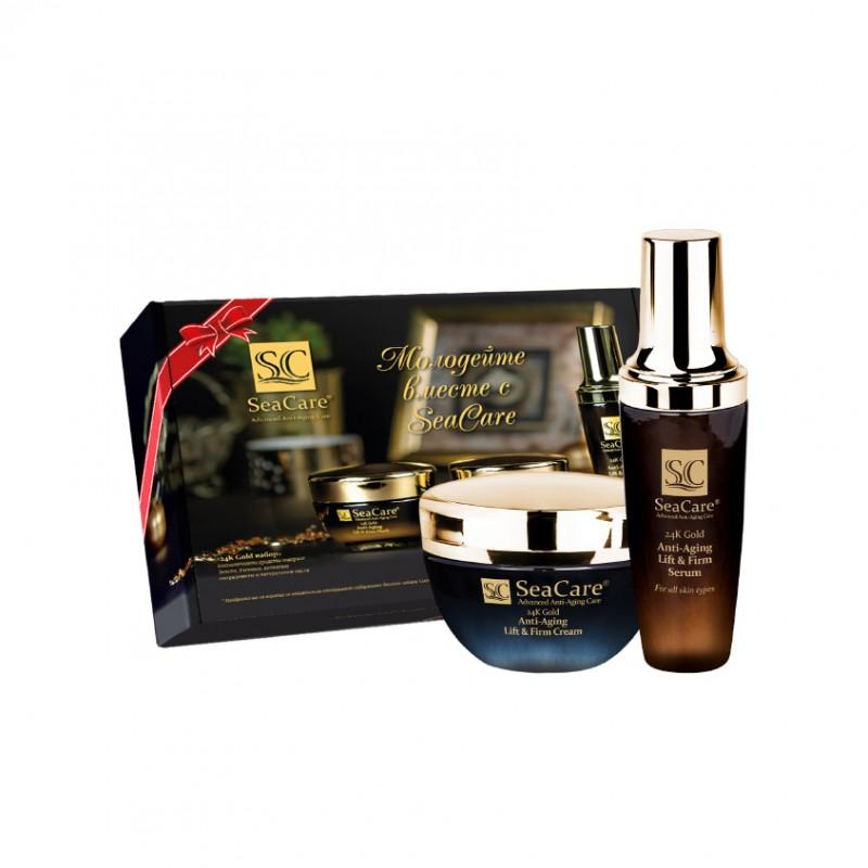 SEACARE Подарочный набор №3, Антивозрастные Крем и Сыворотка с Реноваж, Золотом, Витамином Е