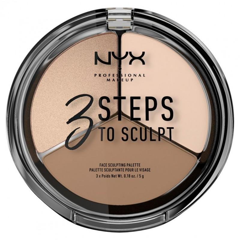 NYX Professional Makeup Тройная палетка для скульптурирования. 3 STEPS TO SCULPT FACE SCULPTING PALETTE