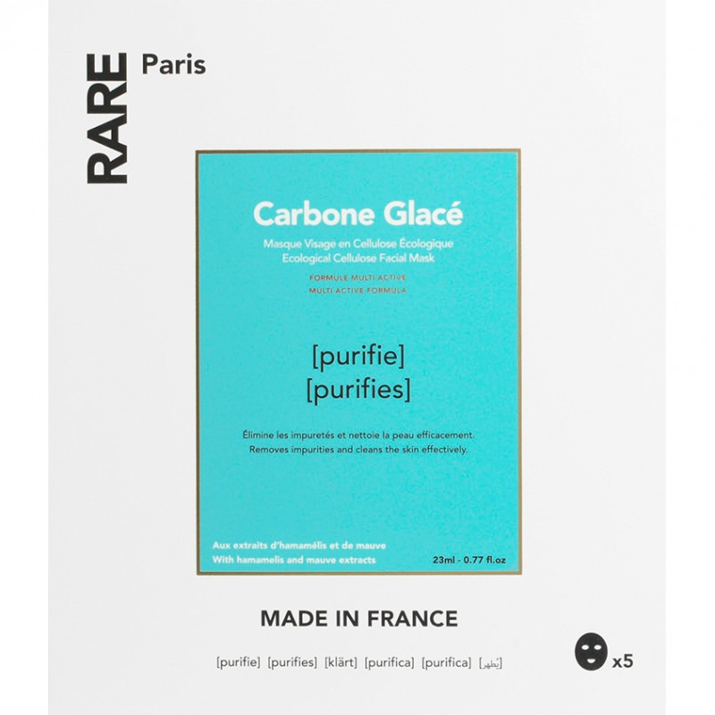 RARE PARIS Набор из 5 очищающих тканевых масок Carbone Glacé