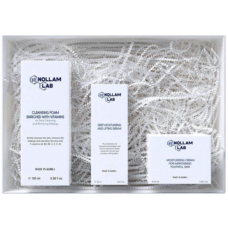 NOLLAM LAB Подарочный набор для сохранения молодости: Пенка, Сыворотка и Увлажняющий крем